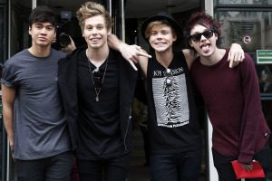 5 Seconds of Summer is seen leaving the 'NRJ' radio station